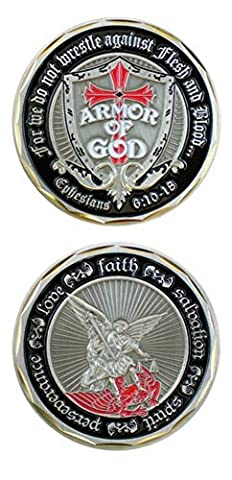 Armor of God Shield St. Michael Challenge Coin (Eagle Crest 2521) by Military Challenge Coins