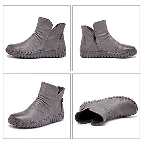 Femmina stivali in pelle cucito a mano retro breve spessa peluche con cerniera tacco piatto caldo scarpe casual, CAMEL-37 GRAY-39
