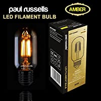3 X paul russells Vintage Style Edison Screw LED Filament Bulbs 4W T45 Antique Radio Valve Industrial Light Amber Retro 360 Beam Lamp E27 ES 2200K Extra Warm White 40W Incandescent Replacement [Pack of 3 Bulbs] from paul russells