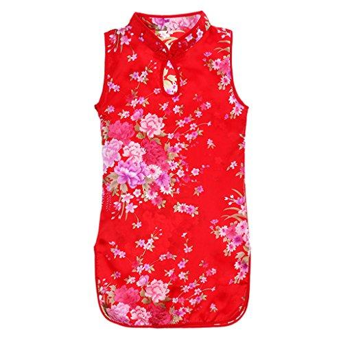 Qipao Cheongsam Geisha Kostüm Chinesisches Kleid Sommer Mini Kleid - rot, 60cm ()