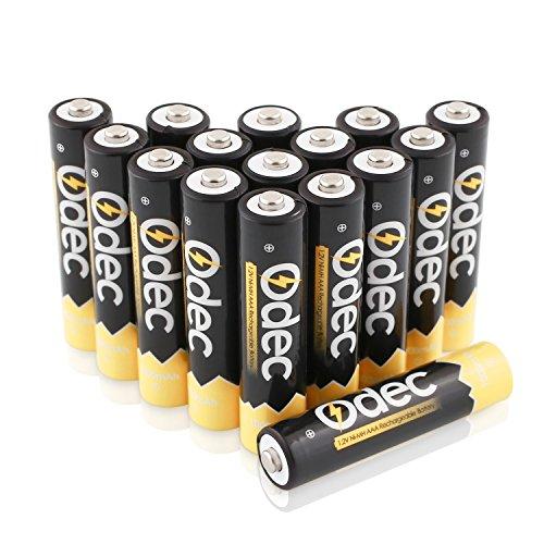 Odec Pile Ricaricabili AAA NiMH, 1,2V Batteria di Elevata capacità di 1000mAh (confezione da 16)