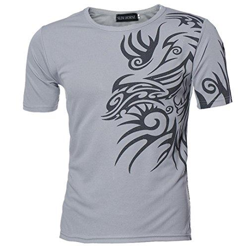 Kanpola Sport T-Shirt Herren Unregelmäßige Polyester Kurzarm Hedging Slim Fit Bluse für Jogging Yoga Männer Tops (S/46, D-Grau)