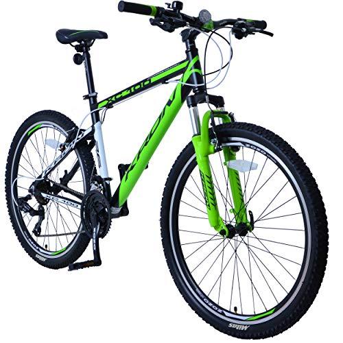 KRON XC-100 Hardtail Aluminium Mountainbike 26 Zoll, 21 Gang Shimano Kettenschaltung mit V-Bremse | 16 Zoll Rahmen MTB Erwachsenen- und Jugendfahrrad | Schwarz & Grün