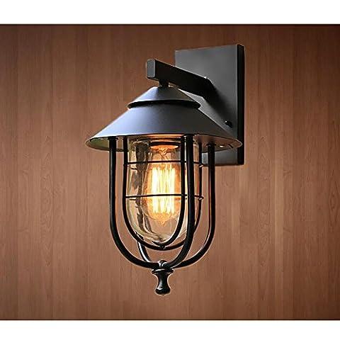 GRFH Américain Country Loft Noir fer forgé Wall Lights Bar Lampe de mur étanche Outdoor Café Restaurant Balcon Corridor Le couloir Lumières W21CM * H37.5CM