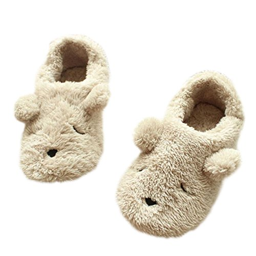 Scrox 1Pair Cute Cotton Slipper Cartoon Bear Women Winter Indoor Bedroom Non-slip Slippers Plush Slippers Women Girls Soft Sole Comfy House Shoes