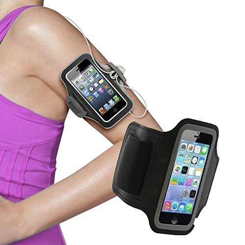 Cable Hunter Sports Running And Jogging Gym Exercise Running Armband Case Cover Holder For Samsung Note 2 & 3,Iphone6, Iphone 6 Plus, Sony, Intex, LG, Microsoft And All Compatible with Cell phones 5.7 Inch - Black - (2 Years Warranty)