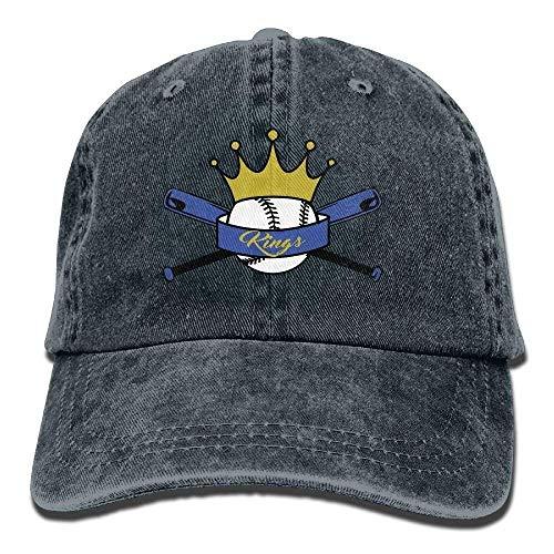 (King Baseball Denim Baseball Caps Hat Adjustable Cotton Sport Strap Cap for Men Women)