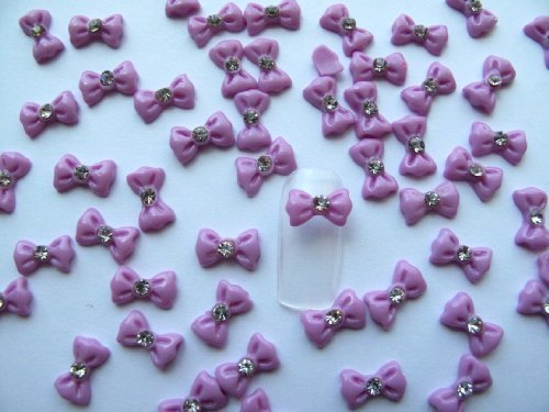 Nail Art 3d 40 Pieces Purple Bow/Rhinestone for Nails, Cellphones 1.2cm by 3d nail art