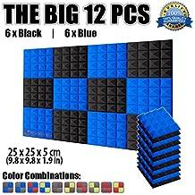 Super Dash Combination (12 Unidades) de 25 X 25 X 5cm Pulgadas Insonorizacion Piramide Espuma Absorcion Aislamiento Acustica Paneles Tratamiento Conjunto SD1034 (AZUL & NEGRO)