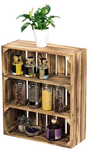 LAUBLUST Küchenregal Vintage Used Look - ca. 40 x 17 x 50 cm, Holz, Geflammt - Gewürzregal Hochformat 2 Regalböden