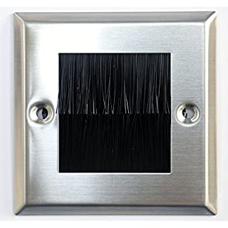 electrosmart Brushed Steel Silver Single Gang Brush Strip Wallplate / Wall Plate / Faceplate Cable Tidy