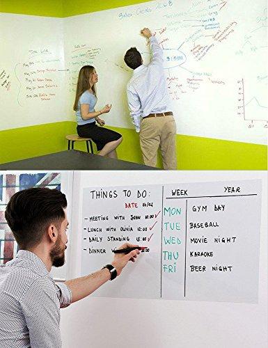 Oarco Tafelfolie Weiß Whiteboard Folie Aufkleber Kreidetafeln Selbstklebende Wandpapier Tafel Kontakt Papier für Schule, Büro, Haus, aus Hochwertigem PVC, Mit Zufriedenheits Garantie 45X200CM