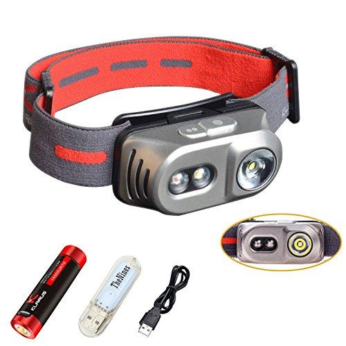 Klarus H1A Stirnlampen 550 Lumen 3 LEDs Drei Lichtquellen Wasserdichte Scheinwerfer, mit 750mah 14500 wiederaufladbare Akku und USB Kable und USB lampe