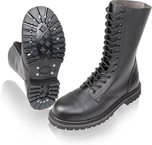 Gear Walk Springerstiefel 10, 14 oder 30 Loch mit Stahlkappe und echtem Leder Farbe Schwarz/14-Loch Größe 9
