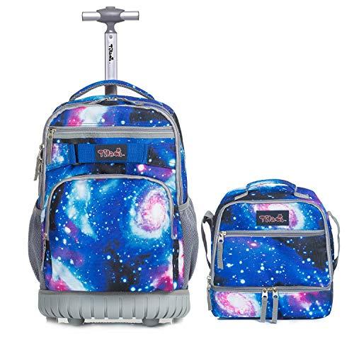 Trolley Rucksack mit Kühltasche für Jungen,Tilami Schultrolley Schultaschen Schulrucksack mit Isoliertasche Lunchtasche für Kinder Junge und Mädchens Klasse 3-12 Sternenhimmel