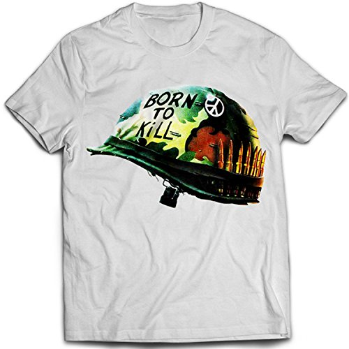 9022w Full Metal Jacket Uomo T-Shirt Army Helmet Hero War Face A Clockwork Orange Korova Milk Bar(Medium,White)