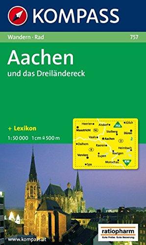 Aachen und das Dreiländereck: Wanderkarte mit Kurzführer, Radwegen und Stadtplan von Aachen. 1:50000