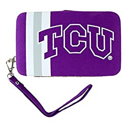 NCAA TCU Horned Frogs Shell Wristlet, 3.5 x 0.5 x 6-Inch, Purple