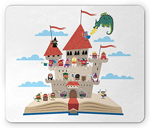 Castle Mouse Pad, Pop Up Book Themed Illustration with Castle Important Medieval Figures and a Dragon, Standard Size Rectangle Non-Slip Rubber Mousepad, 9.8 X 11.8 Inch