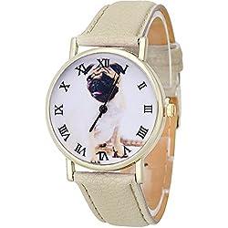 Souarts Artificial Leather Cute Dog Pattern Bracelet Round Dial Quartz Wrist Watch Beige