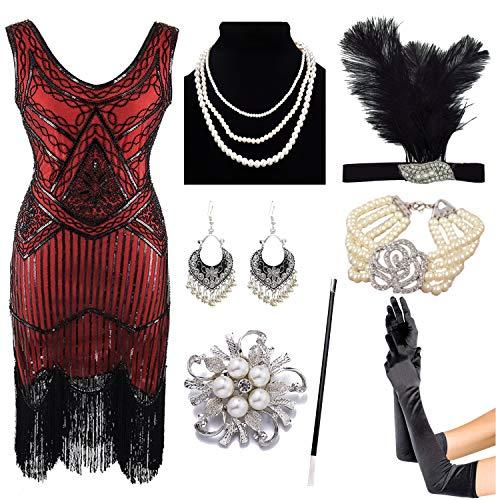8IGHTEEN COSTUME 1920er Jahre Gatsby Fransen Paisley Plus Size Flapper Kleid mit 20er Jahre Zubehör-Set (3XL, Red) (1920er Jahre Make Up)