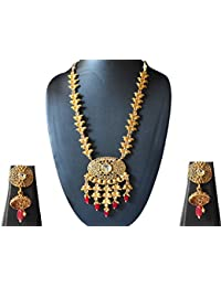 AyA Fashion Designer Gold Plated Long Necklace Set With Gold Carved Chain Studded With Stone And Large Gold Plated...