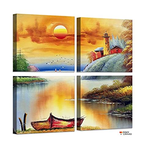 FoxyCanvas Good Morning Sunshine Sunrise Natural Scene Mountains Amazing Giclee Canvas Print Stretched and Framed Wall Art for Home and Office Decorations 4 Piece SET of 12x12 inch