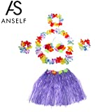 Anself Jupe Hula Hawaien Set Jupes Enfant Nouveau Hawaïenne Danse Kit Hawaï Hula-Hula Hula Jupe Set Jupes