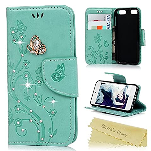 Mavis's Diary iPod Touch 5/6 Case - 3D Handmade Embossed Wallet Bling Butterfly Floral PU Leather Flip Folio Case with Wrist Strap Card Slots Stand Cover for iPod Touch 5th and 6th Generation - Mint
