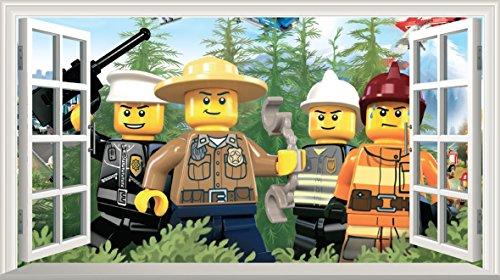 LEGO City selbstklebend Magic Wandtattoo Fenster Poster Wall Art V5Größe 1000mm breit x 600mm tief (groß)