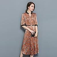 Im Frühjahr Und Sommer - Mode Elegant Lang Seide Seidenkleid Größe Locker Damen Temperament