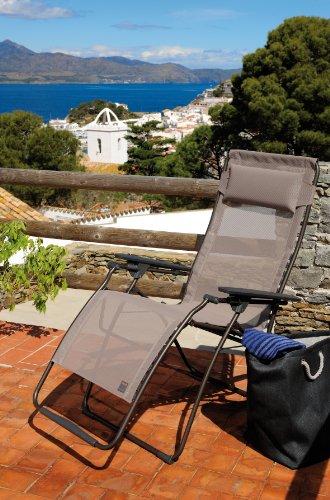 Lafuma LFM3062-6456 Relax-Liegestuhl, klappbar und verstellbar, Futura, ecorce Hellbraun -