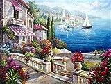 ZHAS Dipinto Dipinto a Mano Soggiorno Camera da Letto Pittura Decorativa Combattimento Singolo Villa a Vela Mediterranea, Villa