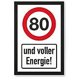 DankeDir! 80 Jahre Voller Energie, PVC Schild - Geschenk 80. Geburtstag, Geschenkidee Geburtstagsgeschenk Zum Achtzigsten, Geburtstagsdeko/Partydeko/Party Zubehör/Geburtstagskarte