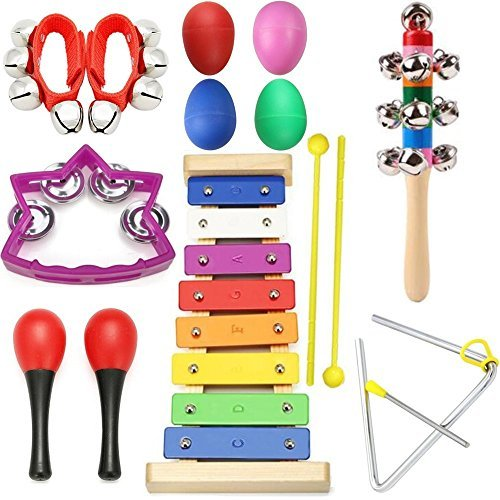 Herodb Young Musician Toolkit - Xylophone,Rainbow Bell Stick,Bells,Four Musical Egg Maracas -Quality Musical Instruments for Kids + Convenient Carrying Case