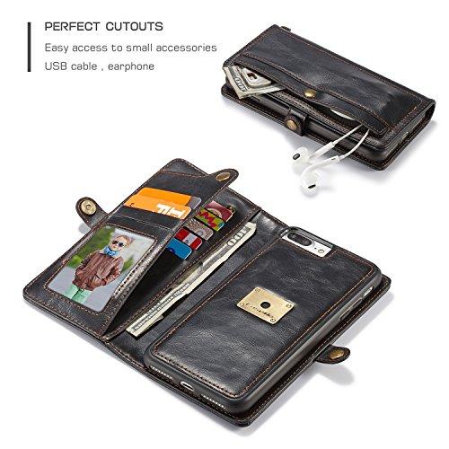 SDDMALL CaseMe Wallet Case [Retro Style] [Handgelenkschlaufe] Für iPhone 7 plus Card Case Premium Schützende PU Leder Flip Magnetic Cover ( Color : Black ) Black