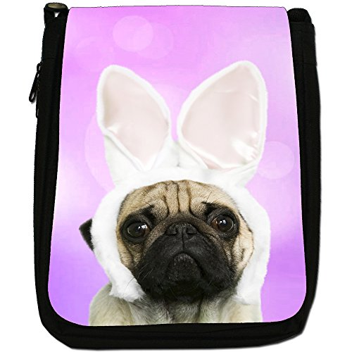 Carlino in orecchie di coniglio medio nero borsa in tela, taglia M Purple - Pug In Rabbit Ears