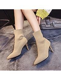 Shukun Botines Calcetines de otoño e Invierno Zapatos Botas de Mujer Botas de Moda Botines Martin