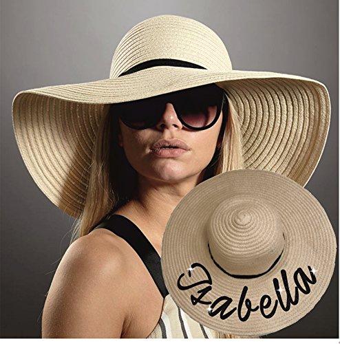 Cappello di paglia con glitter personalizzabile con nome estate spiaggia cappello a tesa larga deformabile sposa Printingcorner