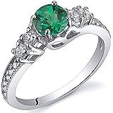 Revoni Enchanting 0.50 Carats Emerald Ring in Sterling Silver Rhodium Finish