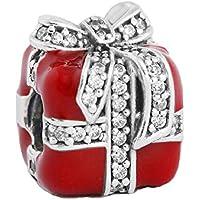 Charm europea Bow Adatto Pandora Bracciali e la collana per qualsiasi festa Smalto rosso per Lady come regali Blanc Cubique 925 sterline
