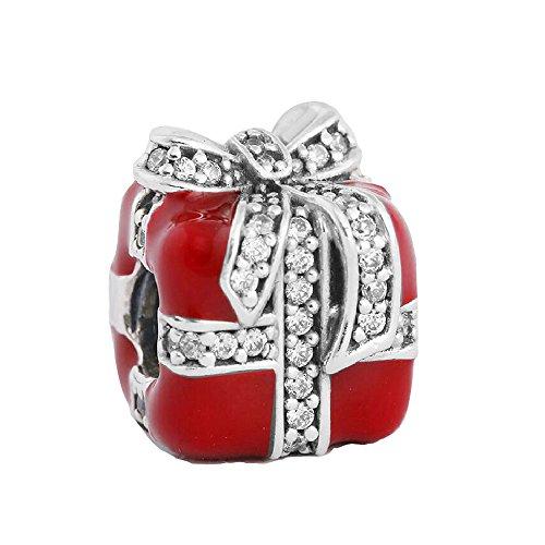 Encanto europeo del arco Se adapta a pulseras y collar de Pandora para cualquier festival Esmalte rojo para la señora como regalos Plata esterlina Blanco Cúbico 925