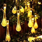 Trada LED Starry String Licht, Outdoor Garden Party 20 LED Regentropfen Teardrop Solarbetriebene String Fairy Lights für,Party,Garten,Weihnachten,Weihnachtsbaum Dekoration (Gelb)