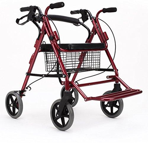Andador de acero inoxidable rojo Colores Walker plegable con ruedas (4ruedas–Andador (con asiento y cesta