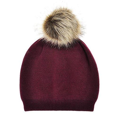 Rote Beanie Mit Pom (ZLYC Damen Frauen Mädchen Winter Beanie Strickmütze Bommelmütze Pom Pom Beanie Hüte mit Fellbommel.)