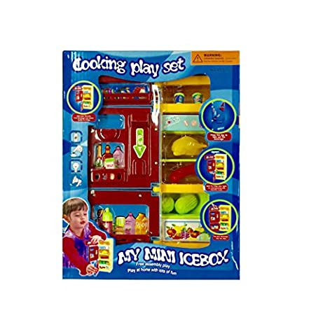 Kidoloop My Mini Ice Box Fridge Refrigerator Kitchen Cooking Play Set for Kids 3+ Electronic (Battery Operated) + Food & Drink Toys