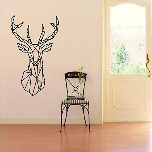 Toper geométrica de la pared de los ciervos etiqueta de la pared Geometría serie animal 3D de la pared de vinilo Decoración del hogar