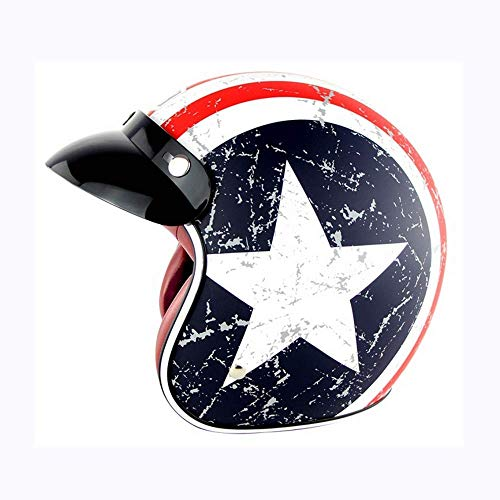 DTVX-Sports Retro Harley Helm Motorrad Jethelm Retro Air Force Pilot Motorradhelm DOT Zertifizierung (7 Farben),Captain America,XXL(61~62cm) (Helm Air Force)