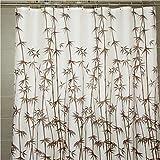 """Cortina de ducha marrón de bambú de impresión de grosor de tela resistente al agua W78x L71"""""""