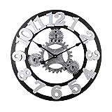 WQZB-Wanduhren Runde Mute Retro Gear Arabische Ziffer Wanduhr Industrielle Wind Dekoration Wohnzimmer Schlafzimmer Bar (16/20/23 / 28in) (40/50/58 / 70cm) Silber